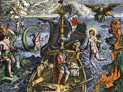Magellan Passing Through His Strait Sail around South America Circumnavigation of Earth, 1519-1522--Giclee Print