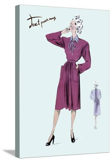 Magenta Dress, 1947--Stretched Canvas Print