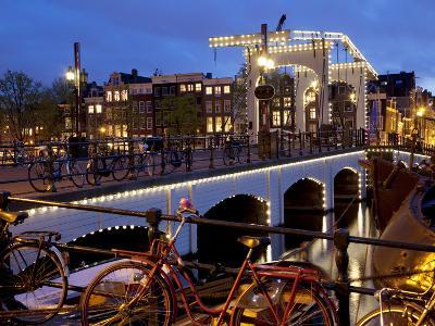 Magere Brug (Skinny Bridge) at Dusk, Amsterdam, Holland, Europe-Frank Fell-Photographic Print
