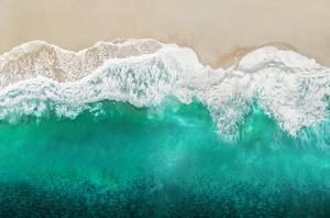 Teal Ocean Waves From Above I by Maggie Olsen