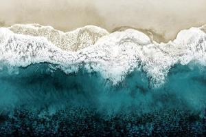 Teal Ocean Waves From Above II by Maggie Olsen
