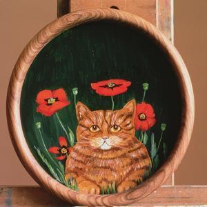 Cat and Poppies by Maggie Rowe