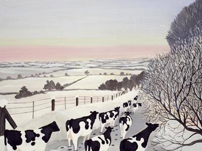 Friesians in Winter by Maggie Rowe