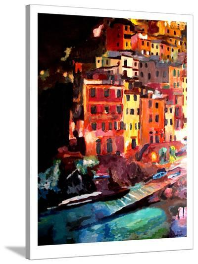Magic Cinque Terre Night In Riomaggiore-M Bleichner-Stretched Canvas Print