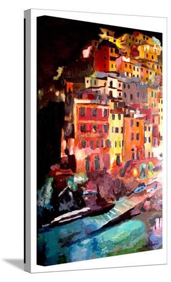 'Magic Cinque Terre Night Riomaggiore' Gallery-Wrapped Canvas-Markus Bleichner-Gallery Wrapped Canvas