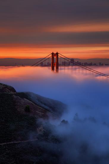 Magic Sunrise Light and Fog, Golden Gate Bridge, San Francisco-Vincent James-Photographic Print