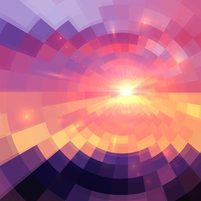 Magic Sunset in Abstract Stained Glass-art_of_sun-Art Print