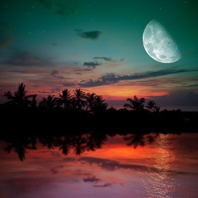 Magical Evening on the Ocean and the Moon-Krivosheev Vitaly-Photographic Print