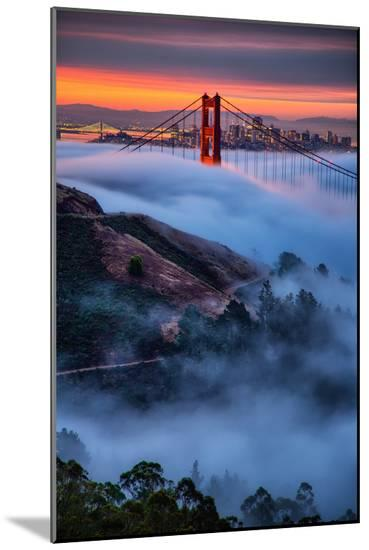 Magical Fog and Sunrise Light, Golden Gate Bridge, San Francisco-Vincent James-Mounted Photo
