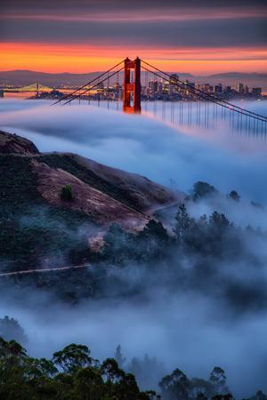 Magical Fog And Sunrise Light Golden Gate Bridge San