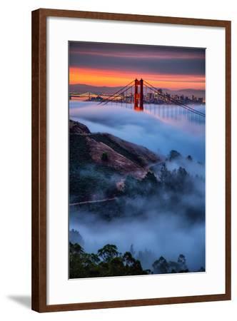 Magical Fog and Sunrise Light, Golden Gate Bridge, San Francisco-Vincent James-Framed Photographic Print