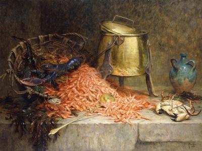 A Lobster, Shrimps and a Crab by an Urn on a Stone Ledge