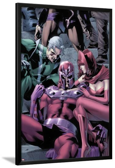 Magnetro: Not a Hero No.2 Cover: Magneto, Scarlet Witch, and Quicksilver Sitting-Clay Mann-Lamina Framed Poster
