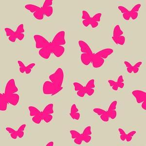 Pink Butterfly on Beige Background. Seamless Pattern. Vector by Magnia