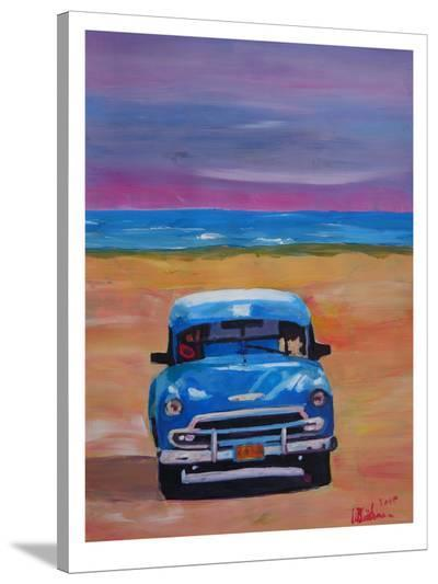 Magnificient Blue Oldtimer In Cuba At Beach-M Bleichner-Stretched Canvas Print