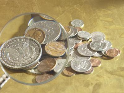 Magnifying Glass on American Coins--Photographic Print