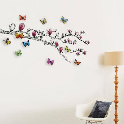Magnolia and 3D Butterflies--Wall Decal