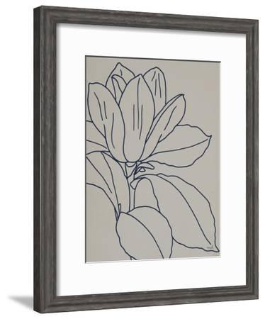 Magnolia Line Drawing v2 Gray Crop-Moira Hershey-Framed Premium Giclee Print