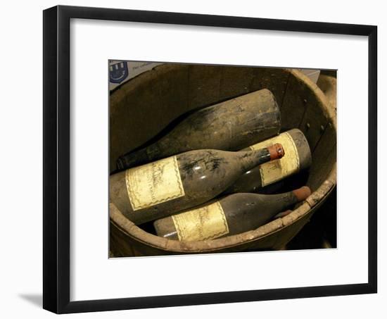 Magnum Bottles in Wooden Vat at Chateau Saint Cosme, Gigondas, Vaucluse, Rhone, Provence, France-Per Karlsson-Framed Photographic Print