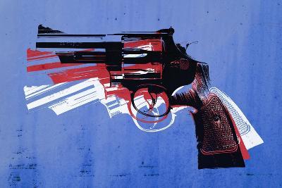 Magnum Revolver on Blue-Michael Tompsett-Art Print