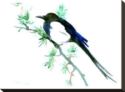 Magpie-Suren Nersisyan-Stretched Canvas Print