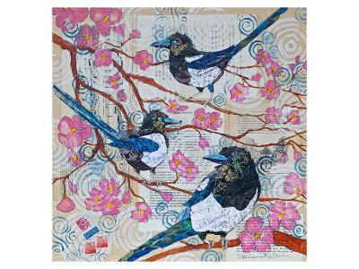 Magpies And Pink Blossoms--Art Print