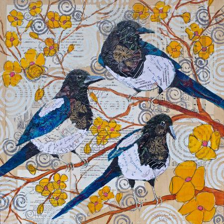 magpies-and-yellow-blossoms