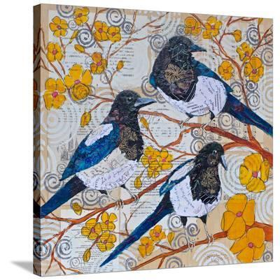 Magpies And Yellow Blossoms--Stretched Canvas Print