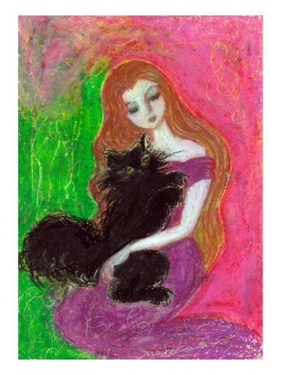 Maiden with Towhead That Embraces Black Cat Closely-Mariko Miyake-Giclee Print