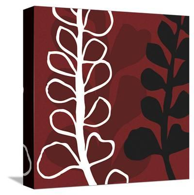 Maidenhair on Red Ground-Denise Duplock-Stretched Canvas Print