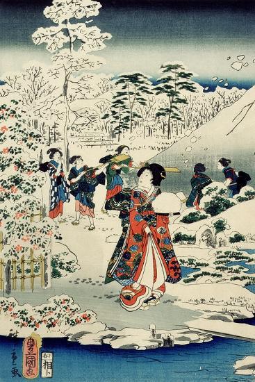 Maids in a Snow-Covered Garden, 1859-Utagawa Hiroshige and Kunisada-Giclee Print