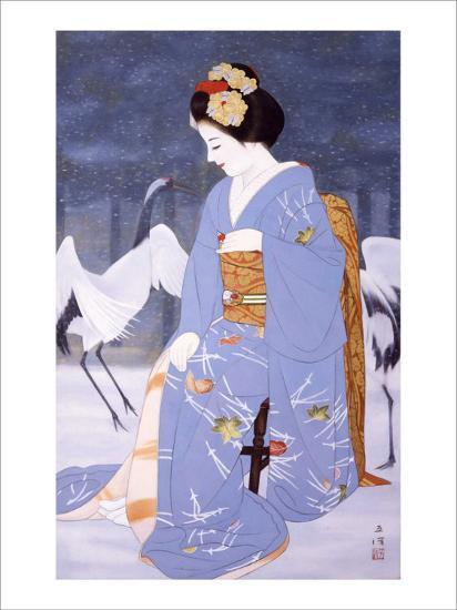 Maiko with Snow in Spring-Goyo Otake-Giclee Print