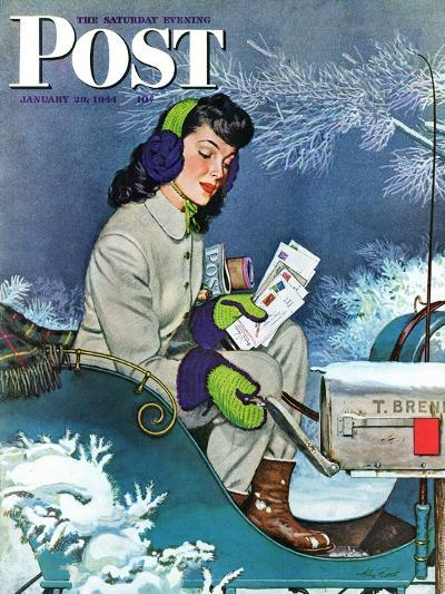 """""""Mail Delivery by Sleigh,"""" Saturday Evening Post Cover, January 29, 1944-Alex Ross-Giclee Print"""