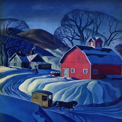 """""""Mail Wagon in Snowy Landscape,"""" March 14, 1942-Dale Nichols-Giclee Print"""
