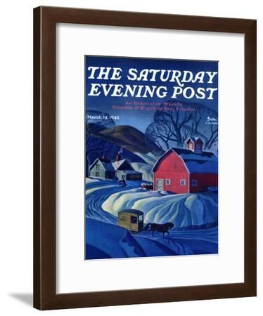 """""""Mail Wagon in Snowy Landscape,"""" Saturday Evening Post Cover, March 14, 1942-Dale Nichols-Framed Giclee Print"""