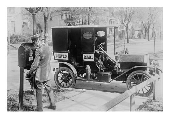 Mailman at Post Box with His Truck Parked at the Curb--Art Print