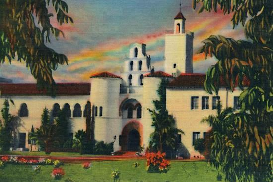 'Main Entrance. Administration Building, State College. San Diego, California', c1941-Unknown-Giclee Print