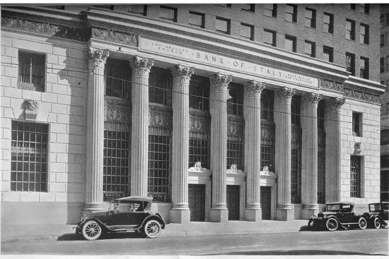 Main entrance to the Bank of Italy, Los Angeles, California, 1924-Unknown-Photographic Print