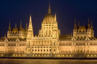 Main Part of Hungarian Parliament on Warm Summer Night, Budapest, Hungary, Europe-Julian Pottage-Photographic Print