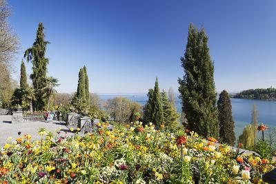 Mainau Island in Spring, View over Lake Constance to the Alps, Baden-Wurttemberg, Germany, Europe-Markus Lange-Photographic Print