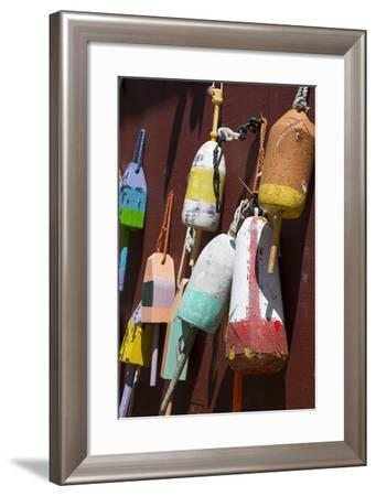 Maine, Bar Harbor. Colorful Lobster Trap Buoys Hanging on Wall-Cindy Miller Hopkins-Framed Photographic Print