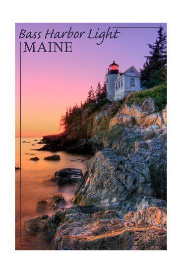 Maine - Bass Harbor Light-Lantern Press-Art Print