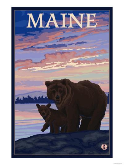 Maine - Bear and Cub-Lantern Press-Art Print