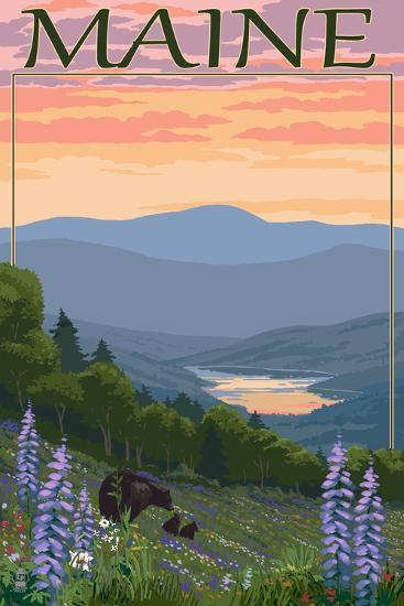 Maine - Bear and Cubs in Spring Flowers-Lantern Press-Art Print