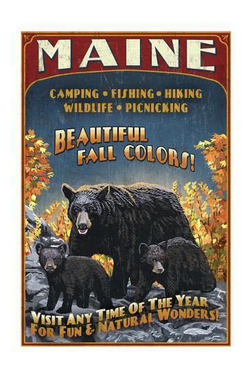 Maine - Black Bear Family Vintage Sign-Lantern Press-Art Print