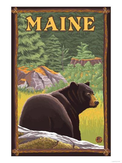 Maine - Black Bear in Forest-Lantern Press-Art Print