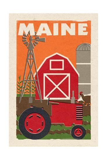 Maine - Country - Woodblock-Lantern Press-Art Print