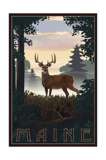 Maine - Deer and Sunrise-Lantern Press-Art Print