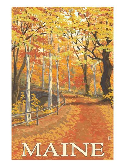 Maine, Fall Colors Scene-Lantern Press-Art Print