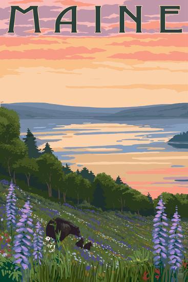 Maine - Lake and Bear Family-Lantern Press-Art Print